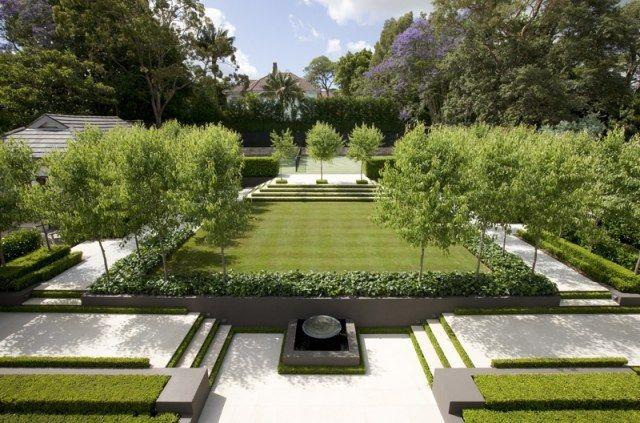 Treppen im Garten geometrische Gestaltung-modern Garden ideas - wasserfall im garten modern