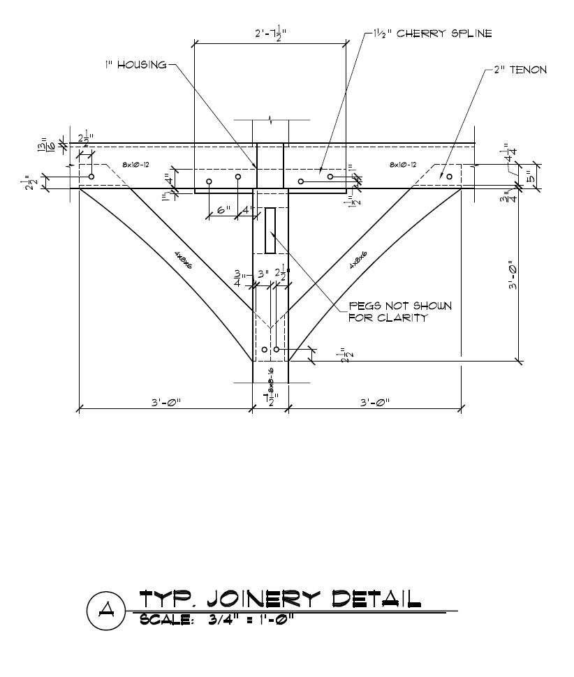 Timber Frame Spline Connection Detail With Two Knee Braces