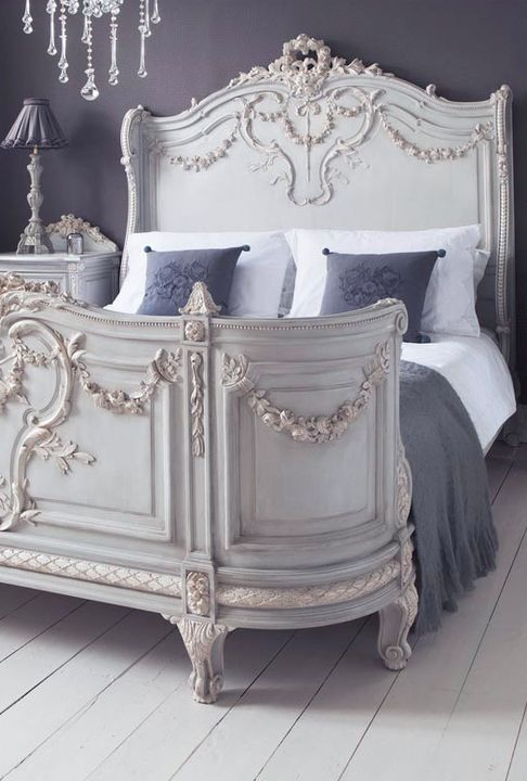 Ornate French Provincial Bed Calming Grey Colour Scheme French Bed French Bedroom French Style Bed