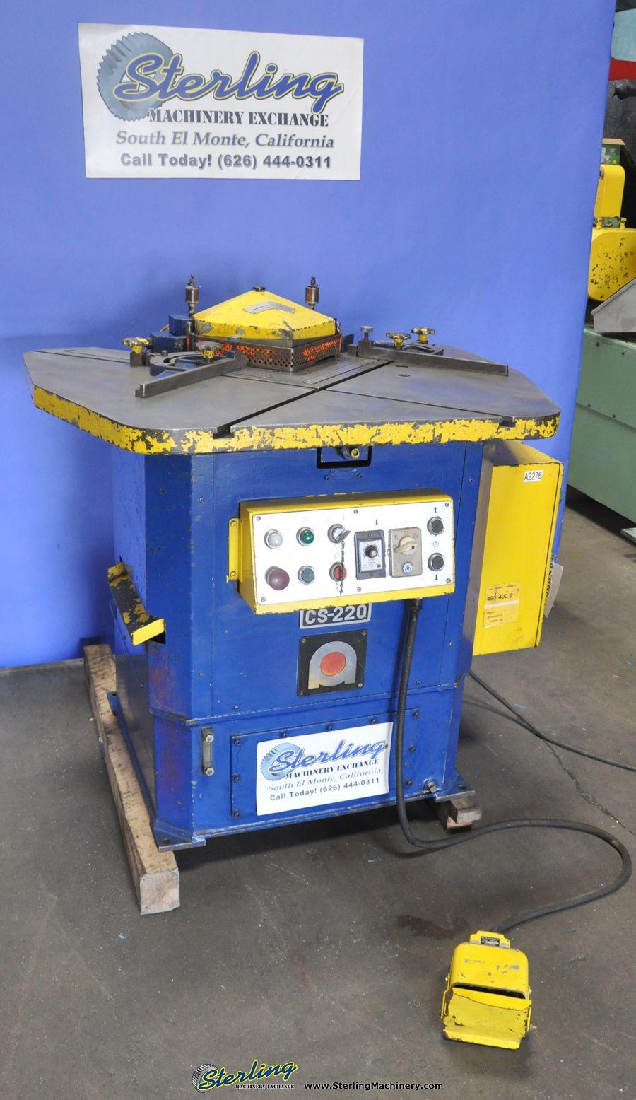 1 8 X 8 5 8 X 8 5 8 Used Amada Power Notcher Mdl Cs 220 Twin Work Guides Timer Foot Pedal A2276 Hydraulic Press Brake Milling Machine Metal Working