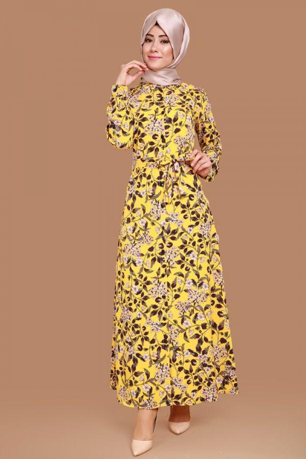 Papatya Desen Dugmeli Elbise Sari Urun Kodu Ukb5051 79 90 Tl Elbiseler The Dress Turban Kiyafetler