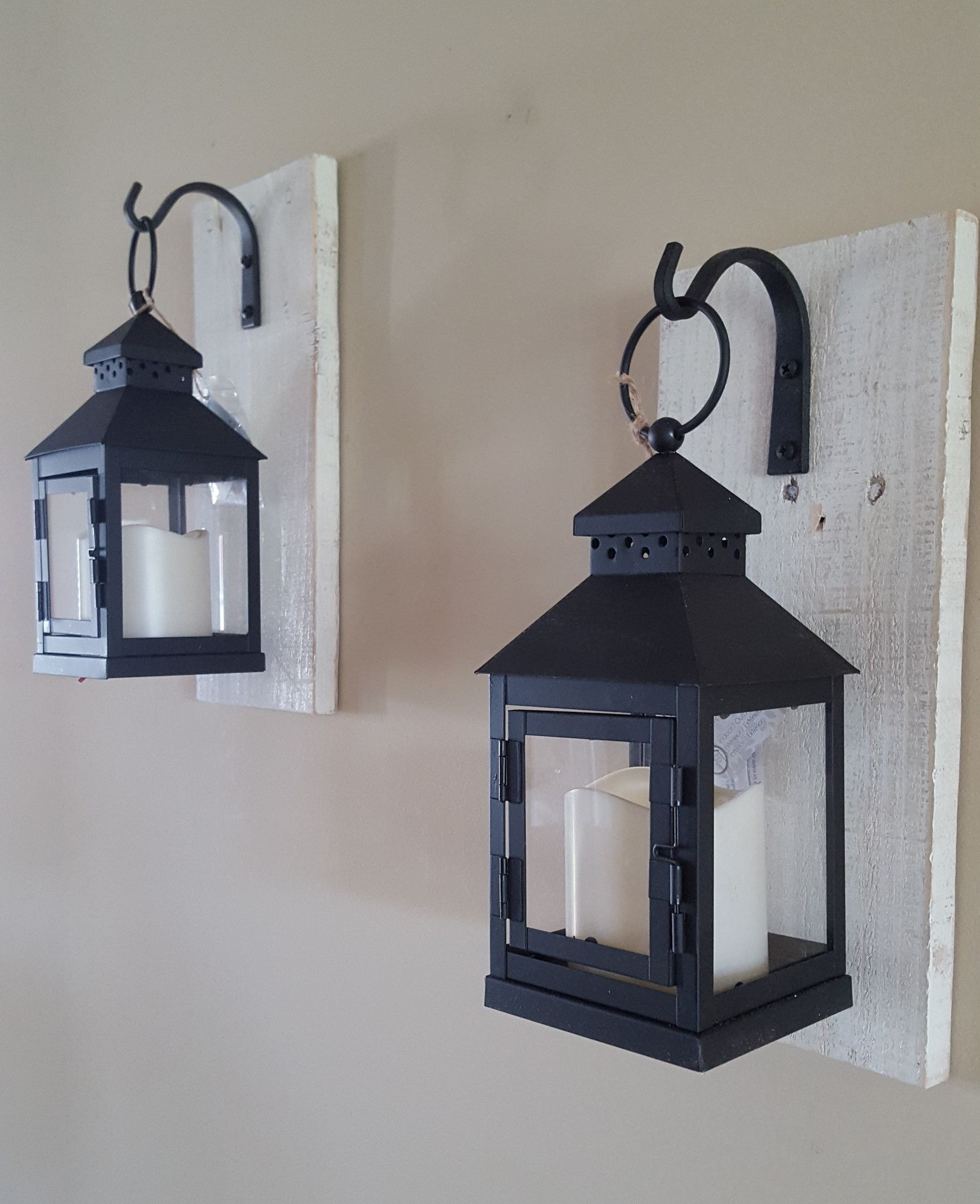 Set Of 2 Small Rustic Wall Mounted Lantern Sconces Black Metal And Glass Lanterns Rustic Wall Sconces Wall Mount Lantern Rustic Walls