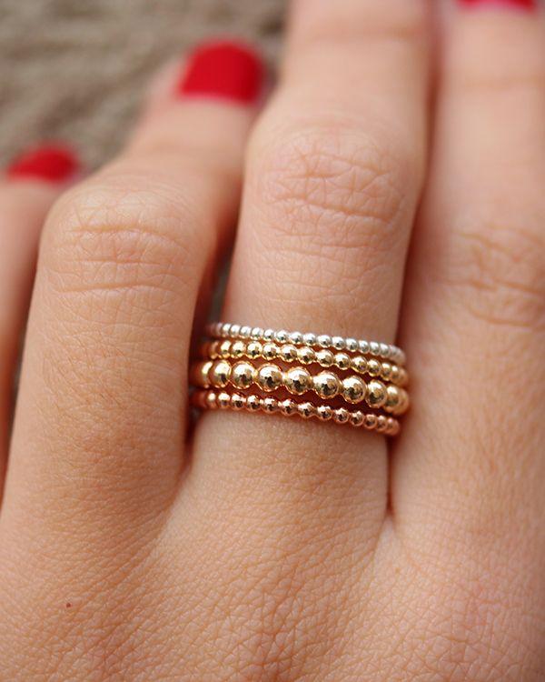 14K Rose Gold Stacking Set Rose Gold Rings Unique Wedding Rings Rose Gold Stackers Rose Gold Stackable Ring Set Women/'s Gold Rings Rose Gold