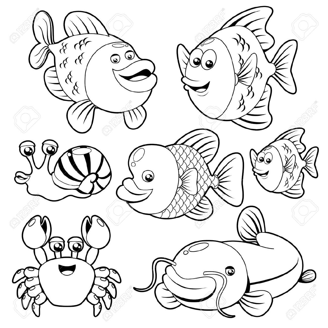 Ocean Animals Clipart Black And White Fishs black and