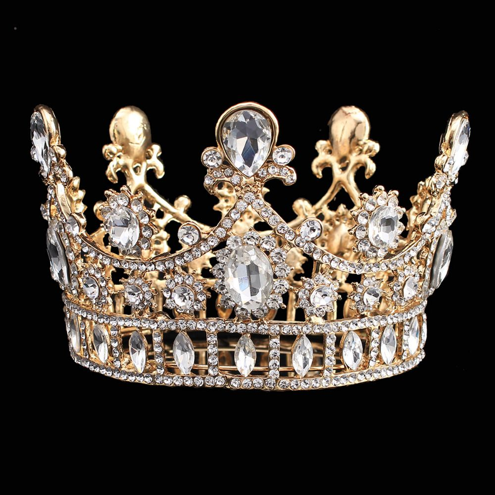 Find More Hair Jewelry Information about Luxury Wedding Crown Alloy Rhinestone  Bridal Tiara Baroque Queen King Crown Gold plated Water Drop Crystal  Headband ... b42c7f36c890