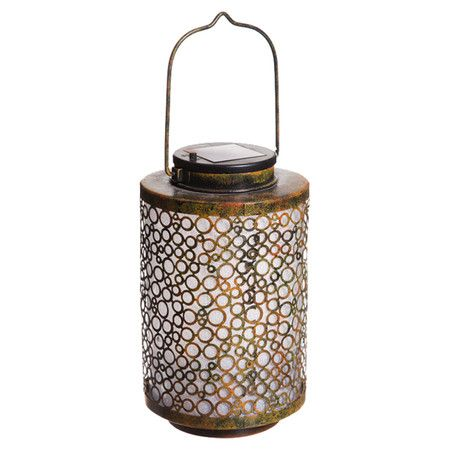 Illuminate Your Tabletop Or Mantel In Style With This Metal Solar Lantern Showcasing A Fretwork Overlay A Solar Lanterns Solar Hanging Lanterns Lanterns Decor