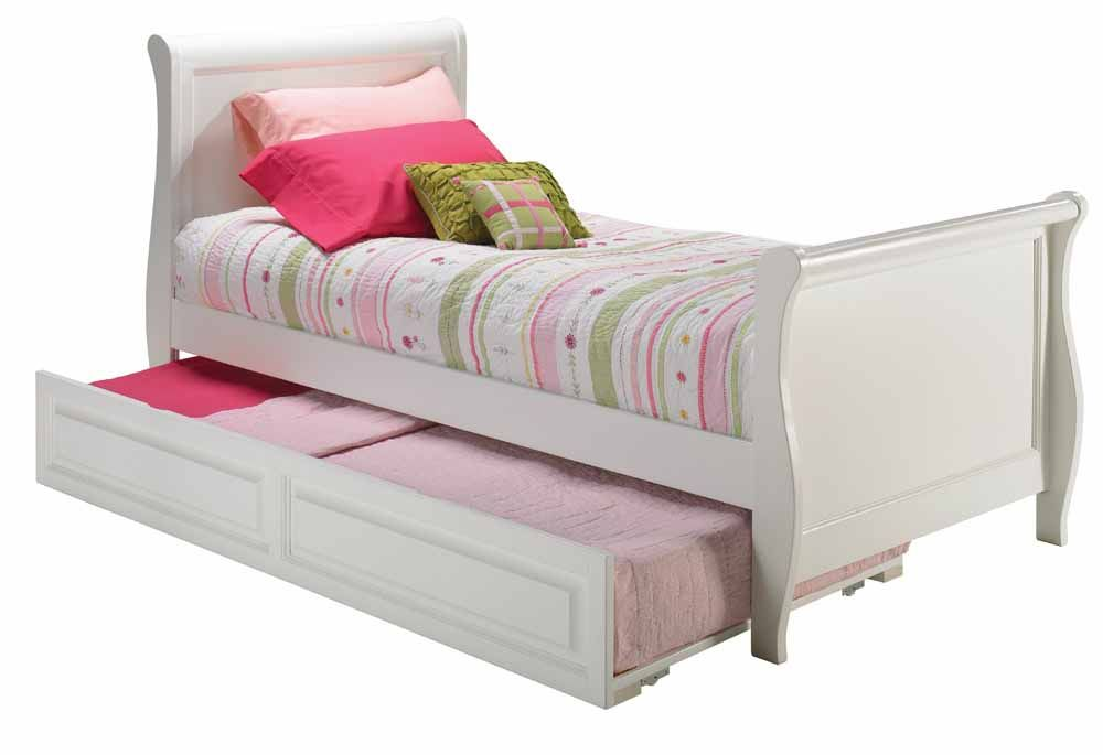 White Sleigh Twin Bed W Matching Foot Board And Raised Panel
