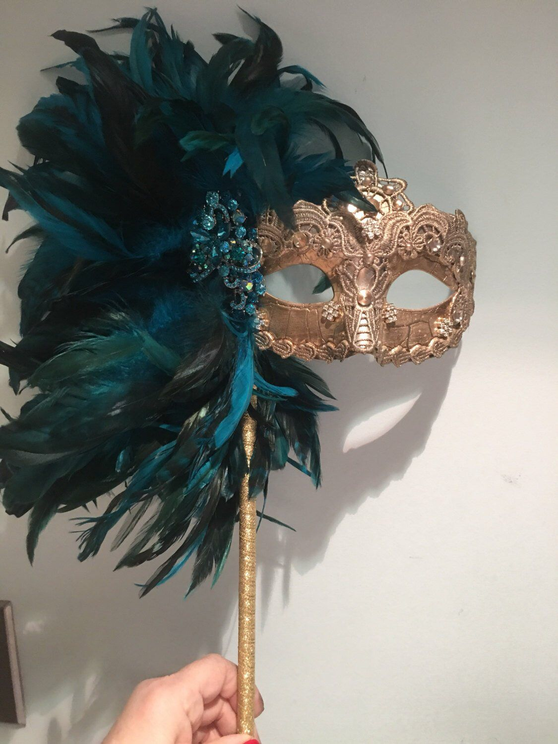 Mardi Gras Mask with Feathers on Stick Masquerade Party
