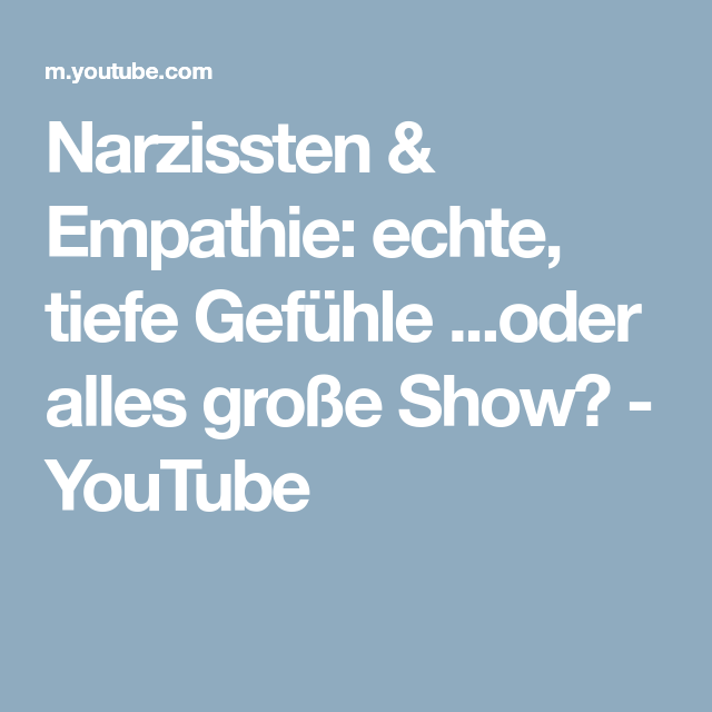 Narzissmus empathie