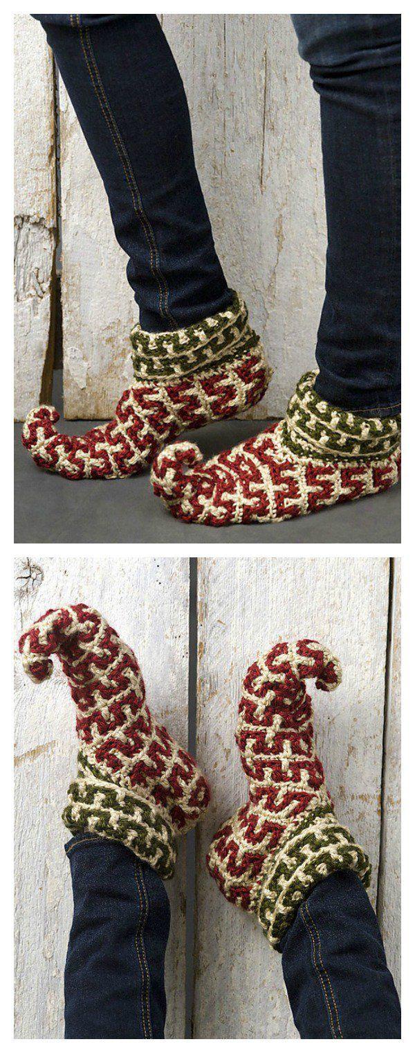 Elf Slippers Free Crochet Patterns | Zapatos tejidos, Zapatos de ...