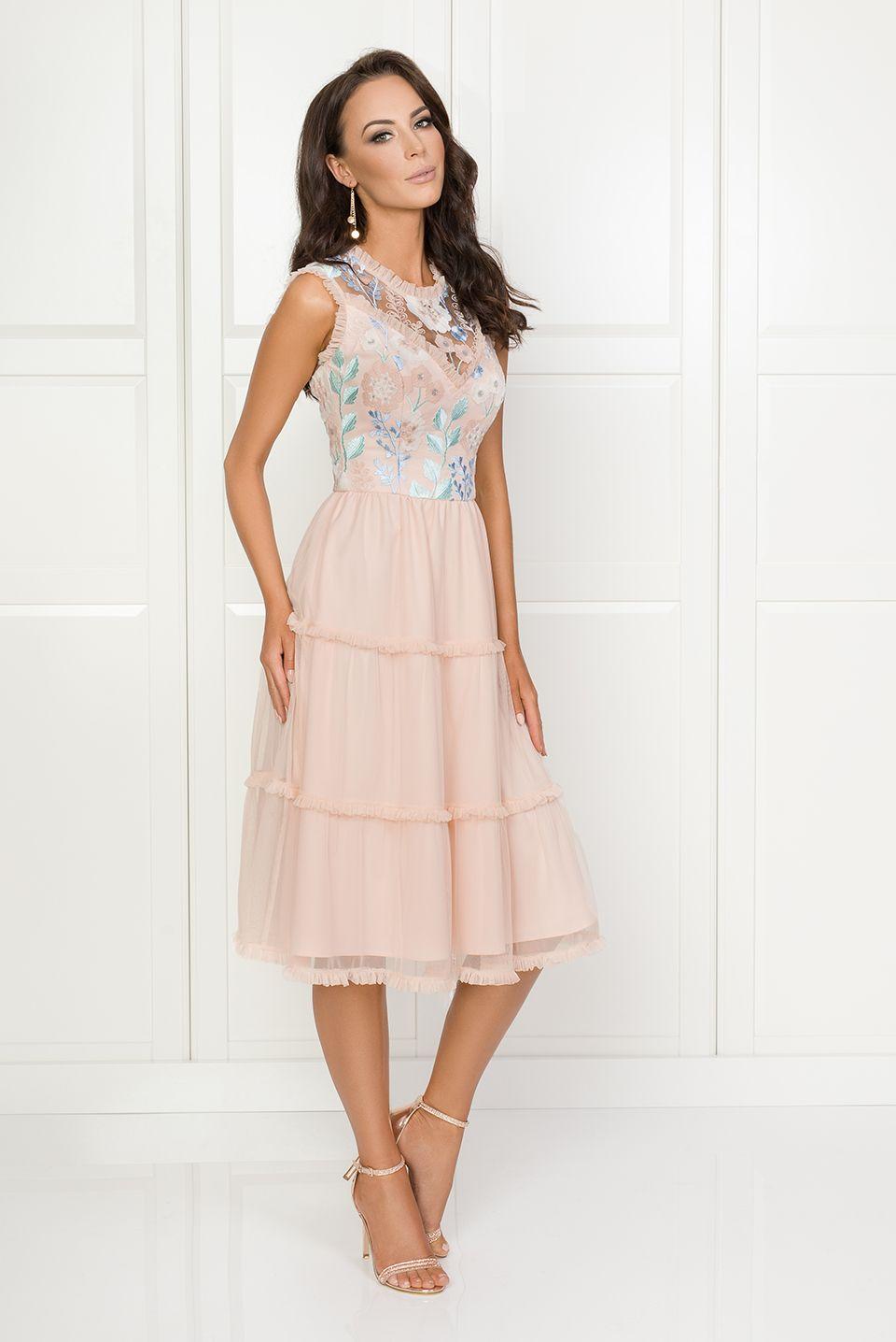 095e06faa6 Emma - Brzoskwiniowa sukienka midi