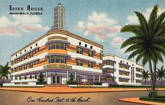 Essex House Miami Beach Original Postcard Essex Homes Miami Beach Art Deco Hotels Miami Art Deco