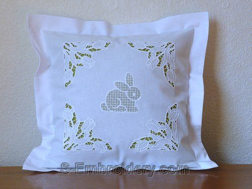 Pillow case with Easter bunny cutwork lace embroidery