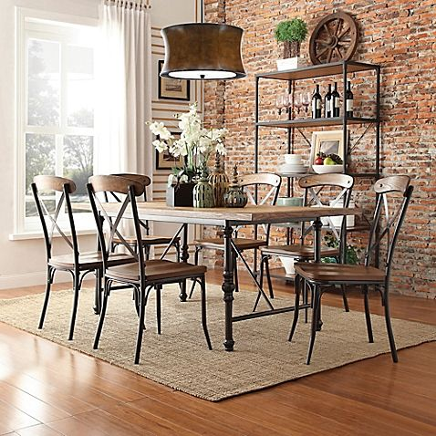 Homelegance 7 Piece Industrial Dining Set With X Back Chairs   Vintage  Design Gets A Chic Makeover With The Weston Home 7 Piece Industrial Dining  Set With ...