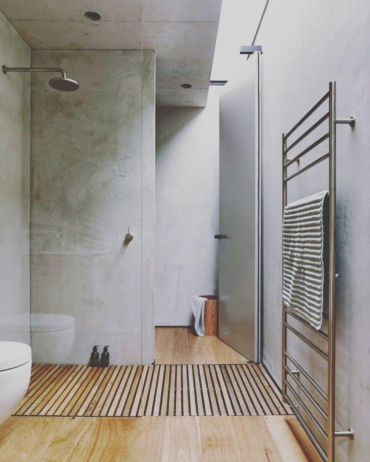 Concrete Bathroom Floor: Some Wood And Concrete Design #wood #oak #furniture #diy