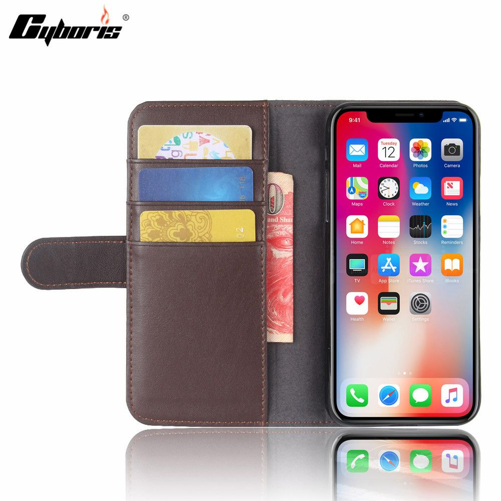 Us 7 98 Cyboris For Apple Iphone Flip Wallet Genuine Leather Case For Iphone X Phone Card Apple Card Case Cyboris Iphone Leather Wallet Leather Case