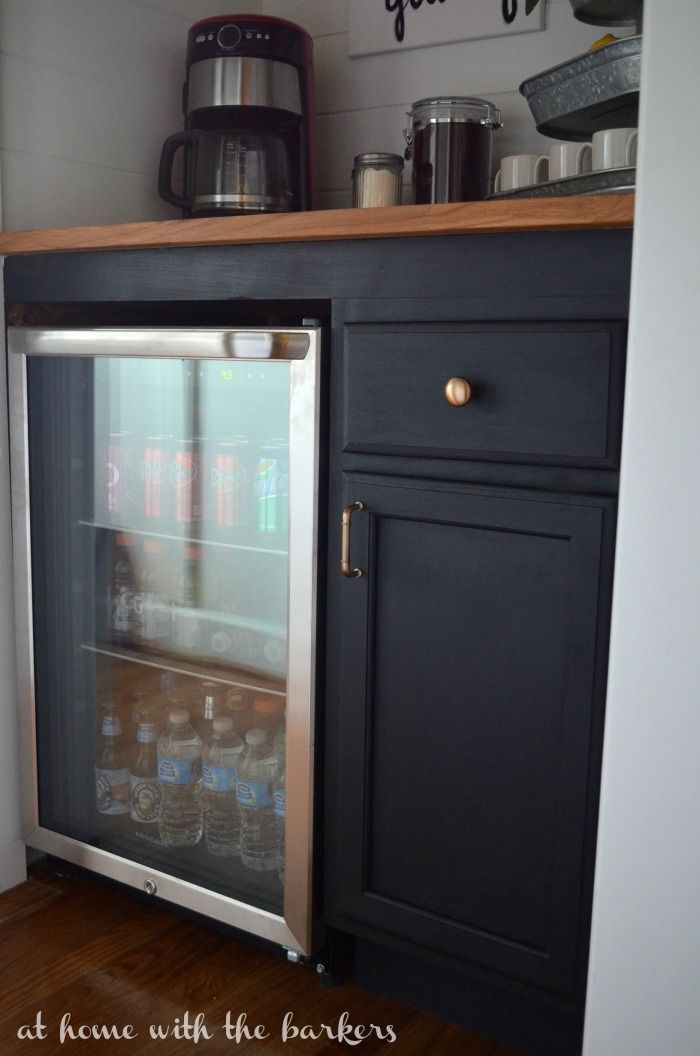 Diy Beverage Bar At Home With The Barkers Bars For Home Mini Fridge Cabinet Home