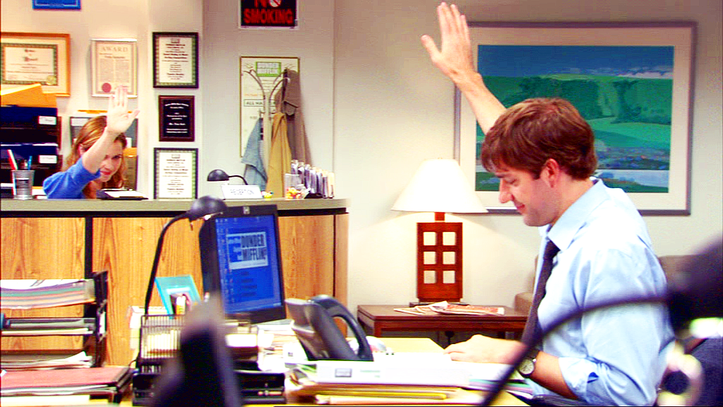 Jim and Pam's highfive from a distance the office