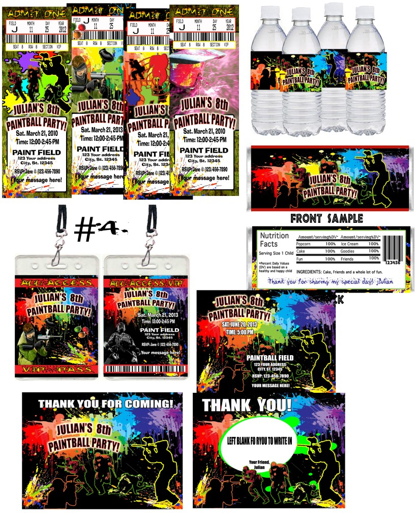 paintball birthday party ticket invitations vip pass favors u print