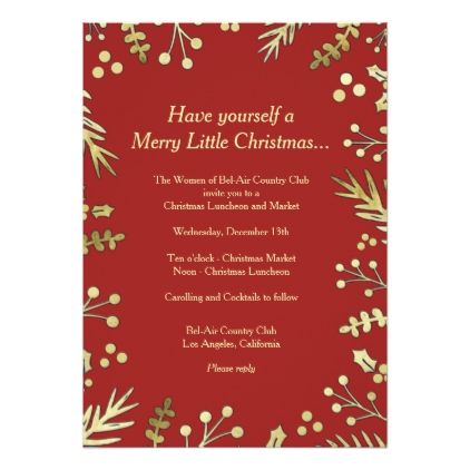 Red And Gold Holly Christmas Party Invitation Christmas Cards
