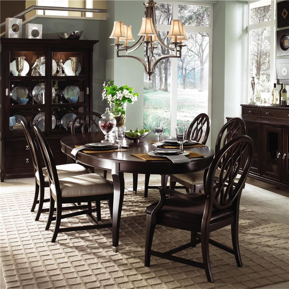 Kincaid Dining Room Set: Round Dining Table & Four Upholstered Side Chairs From Kincaid Furniture #DiningRoom #furniture