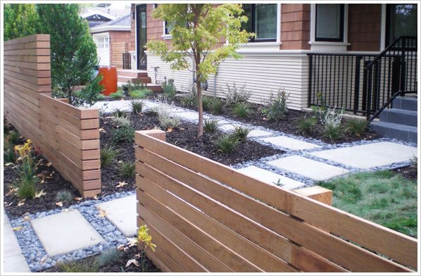 great fence and concrete pavers with river stone and metal edging in 2019