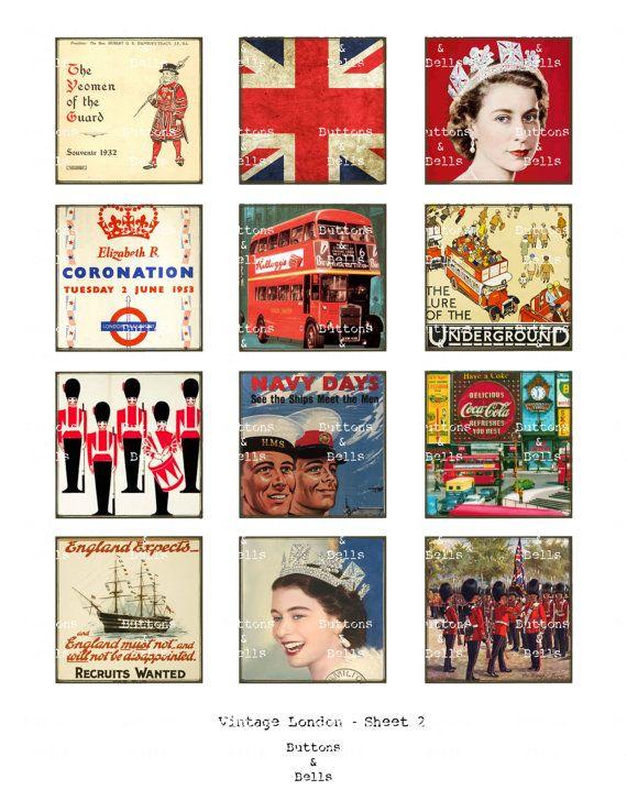 Scrapbook digital Vintage Londres Union Jack por ButtonsandBells