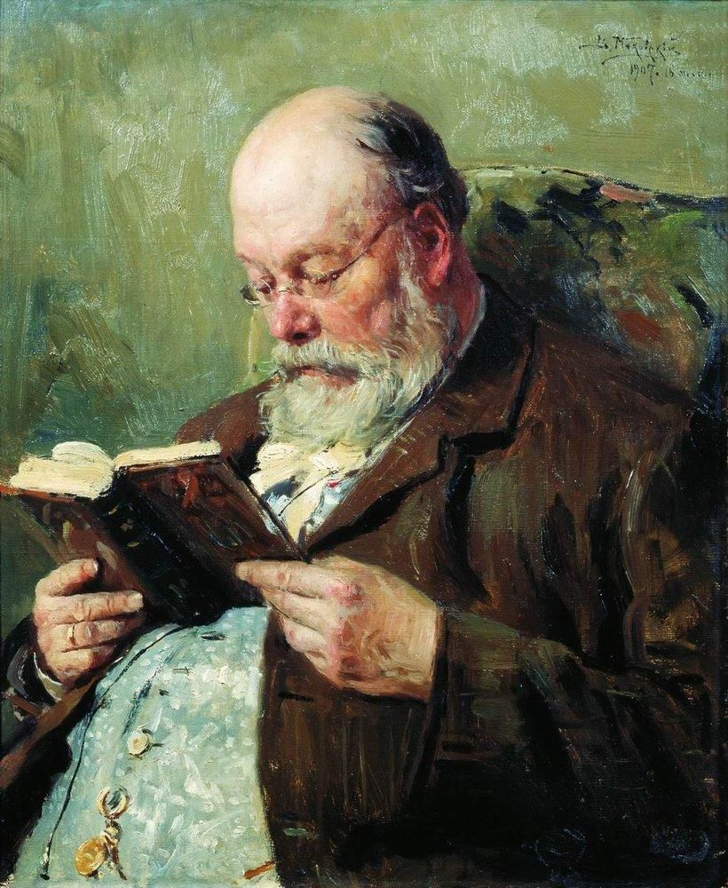 Vladimir Makovsky (Russian, 1846-1920). Portrait of academician Ivan Yanzhul, 1907