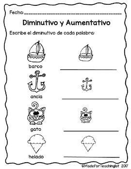 Diminutivos y Aumentativos: Hojas de tarea   Cosas para comprar ...
