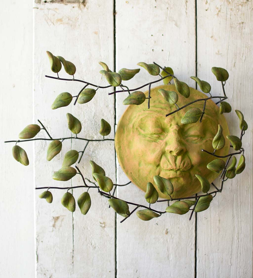 Sun Face with Blowing Leaves Wall Art | On the walls & shelves ...