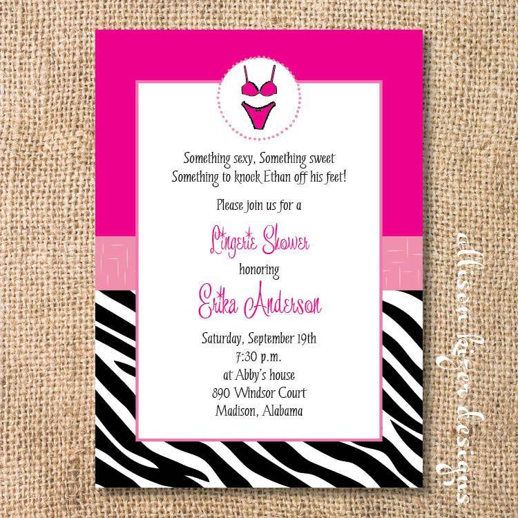 Hot Pink Zebra Printable Lingerie Shower by AllisonKizerDesigns ...