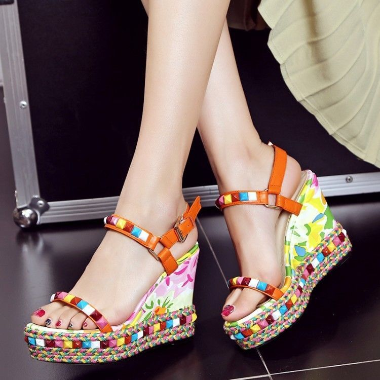 91eaa5f0d Stylish Womens Boho Floral Rivet Wedge High Heel Ankle Buckle Sandals Shoes