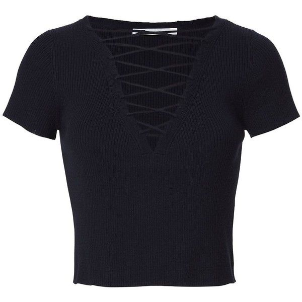 T by Alexander Wang Women's Navy Lace-Up Short Sleeve Sweater (735.500 COP) ❤ liked on Polyvore featuring tops, sweaters, shirts, crop top, blusas, navy, navy shirt, navy sweater, lace up crop top and cropped shirts
