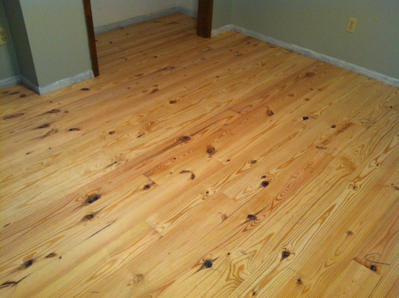 "5"" Knotty Pine Flooring, Unfinished To Match Dark Cabinets"