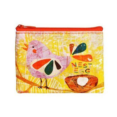 """Just in case your 401K tanks (again)... By Nate Duval. This awesome Nest Egg Coin Purse is made with 95% recycled post consumer material. It has a crushed, wrinkled look. This is normal for the recycled content used. Gooooooo environment! 4.3""""w x 3.2""""h."""