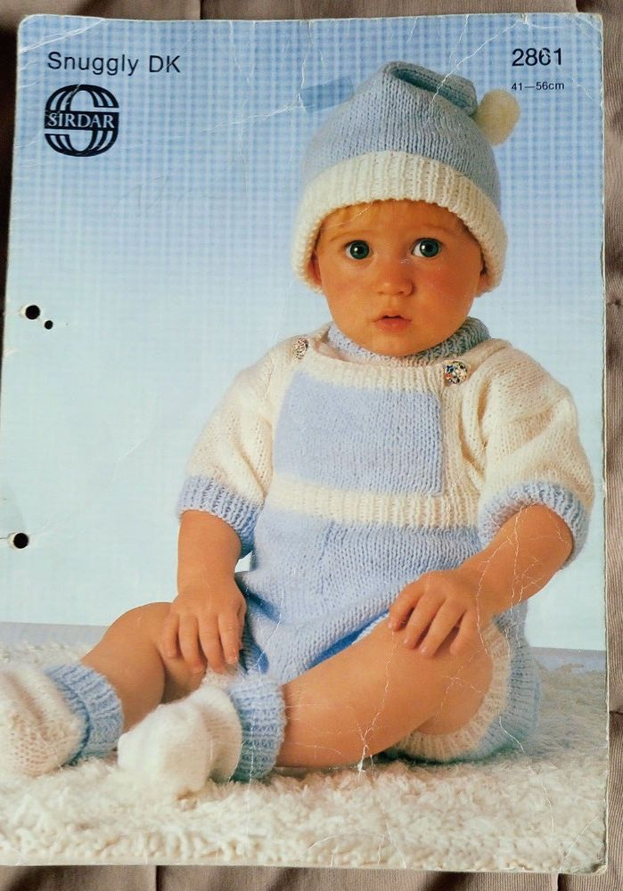 Baby Sweater Rompers Bootees Hat Sirdar 2861 knitting pattern DK ...