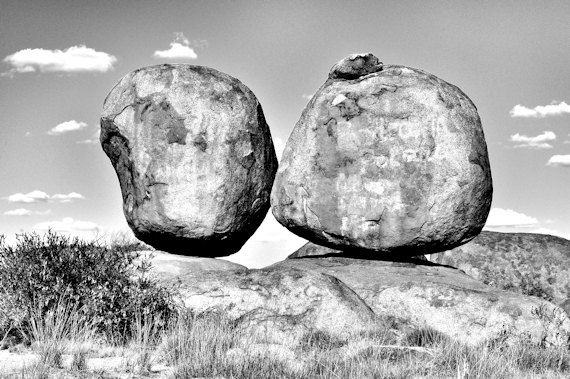 Devils marbles australian landscape black and white photographic print