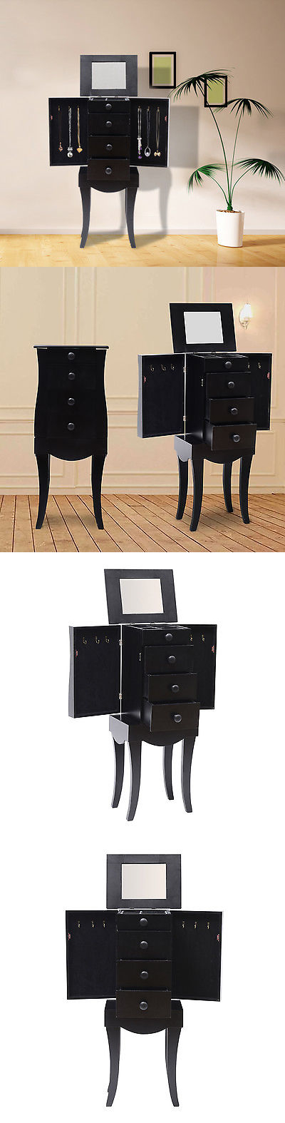 Jewelry Boxes 3820: Jewelry Armoire Box Storage Chest Cabinet Necklace Organizer Mirror Stand Black BUY IT NOW ONLY: $72.99