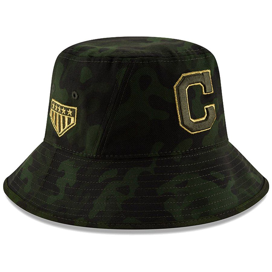 brand new c02ea 3731c Cleveland Indians New Era 2019 MLB Armed Forces Day Bucket Hat - Camo