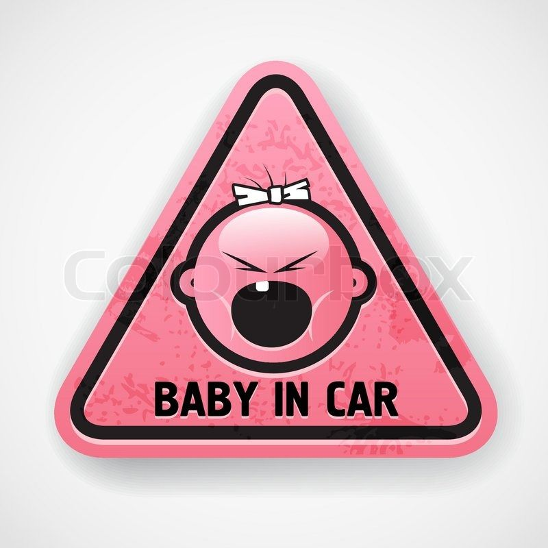 Baby car girl pink decal sticker scream attention grunge tooth young kid child background triangle sign danger symbol banner yellow
