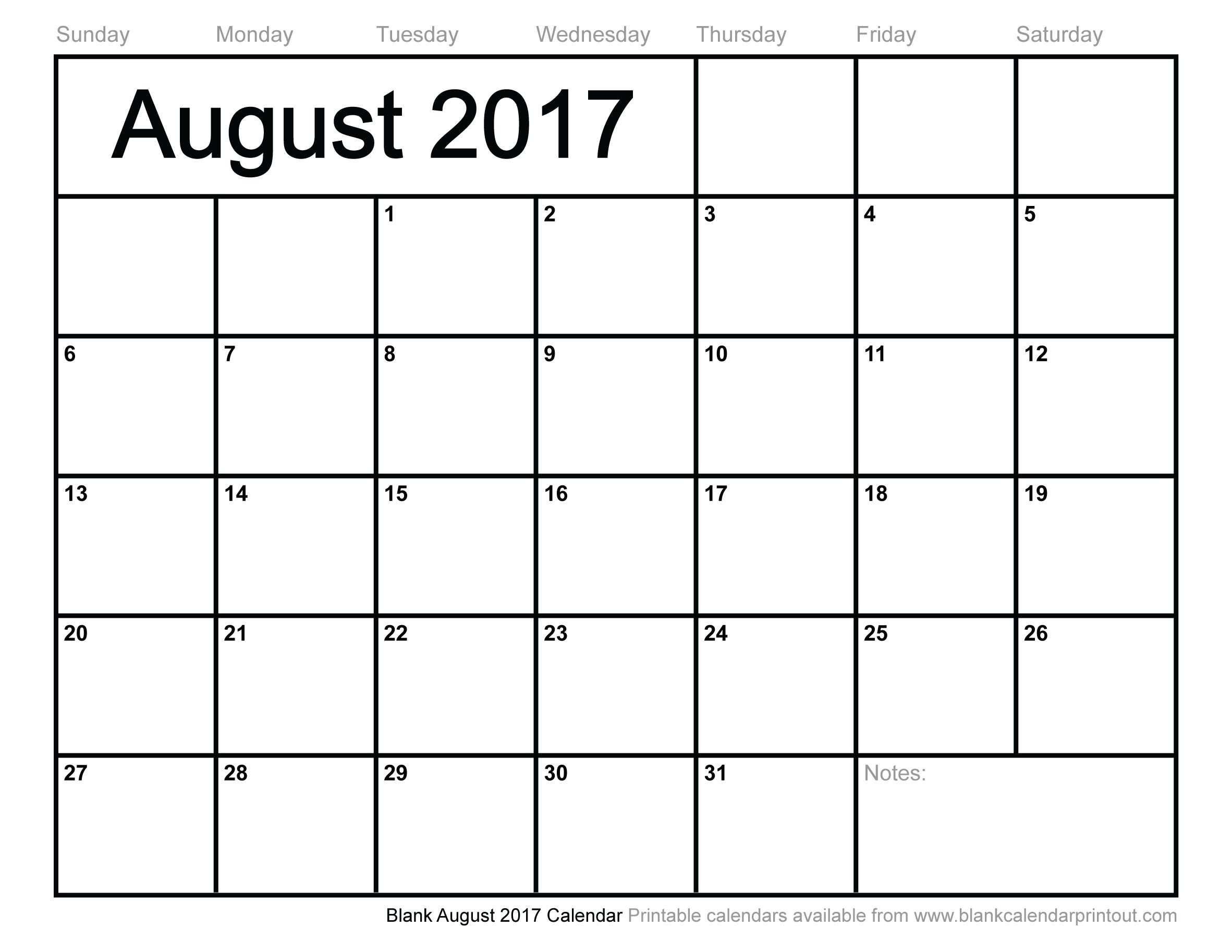 Blank August  Calendar  Calendar  August    Blank
