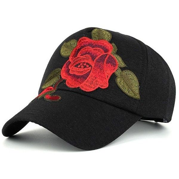 Showy Flower Embroidered Baseball Hat (73.160 IDR) ❤ liked on Polyvore  featuring accessories 9120ba833de3