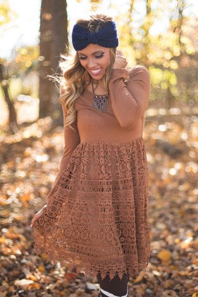 Thankful Hearts Lace Dress in Camel