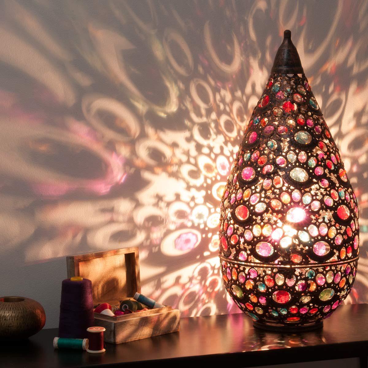 Lampe en métal effet cuivre H 10 cm SHEHERAZADE  Lamp, Moroccan