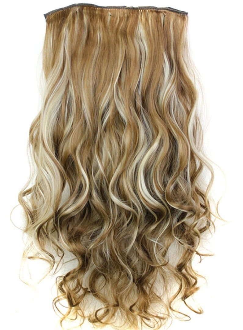 6h613 Mix Color One Piece Clip In Hair Extension Long Wave 24 Inches