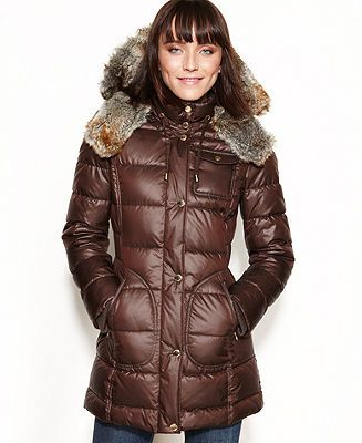 Laundry By Design Coat Faux Fur Trim Hooded Puffer Coats