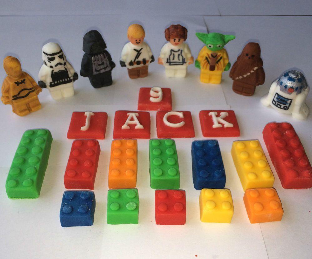 Edible Sugarpaste Star Wars Bricks Cake Topper Birthday Party