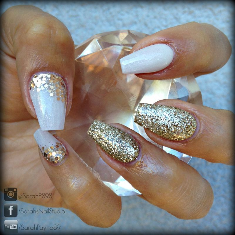 White And Gold Coffin Nails Prom Nails Gold Coffin Nails