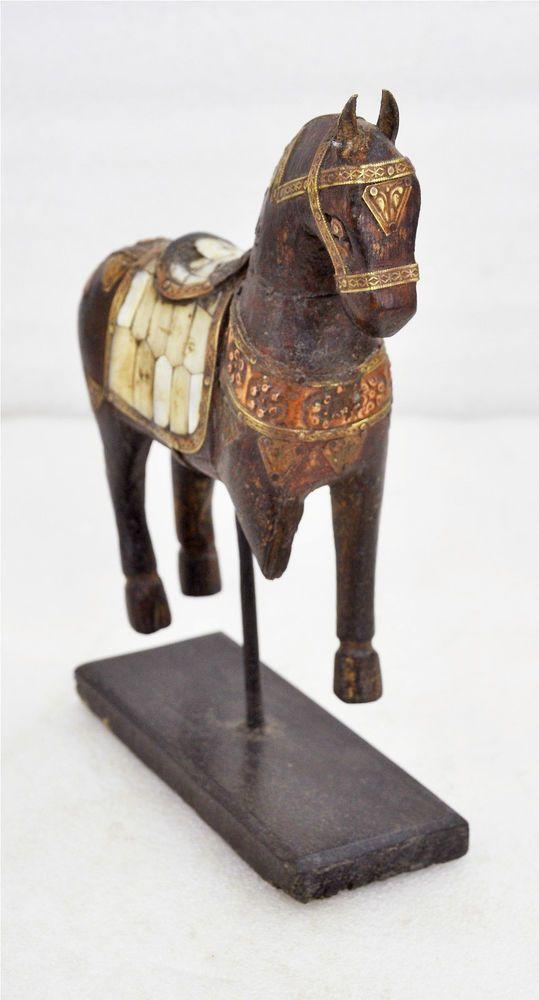 Vintage Hand Carved Wooden Armored Horse Hammered Copper