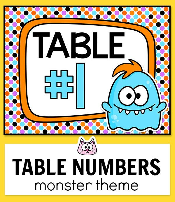 Monster Theme Editable Table Signs